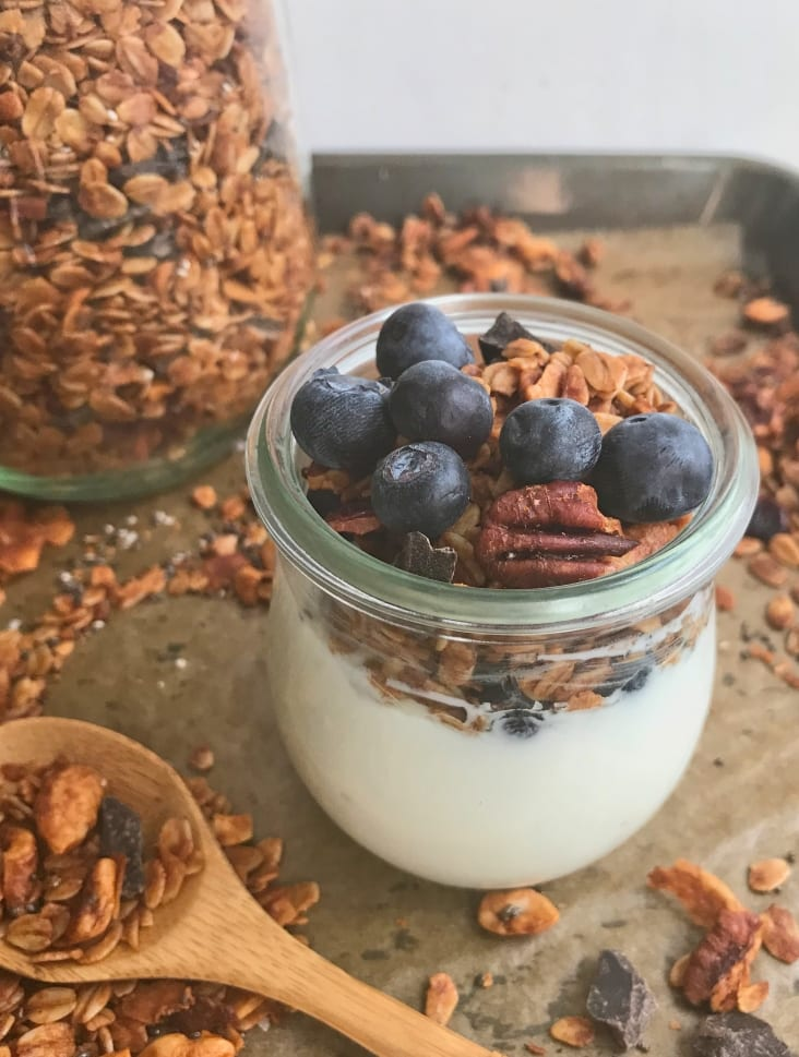 This easy granola is chock full of my faves - cashews, pecans, coconut, sea salt, maple syrup and of course, chocolate!