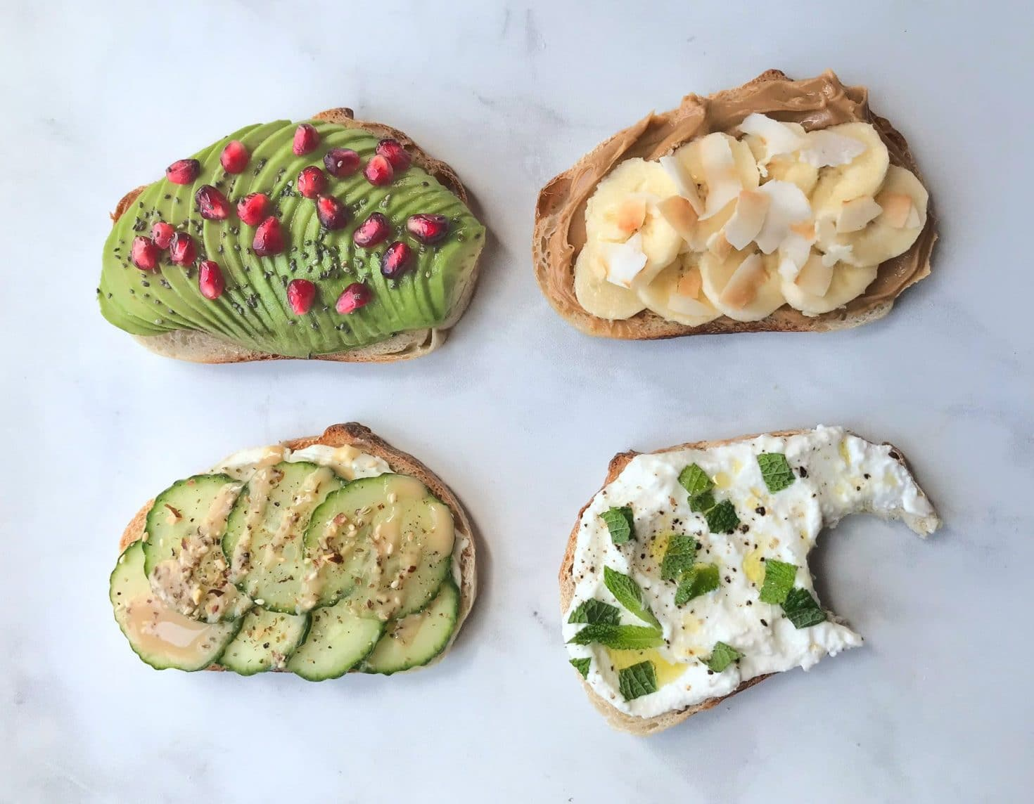 Four breakfast toasts