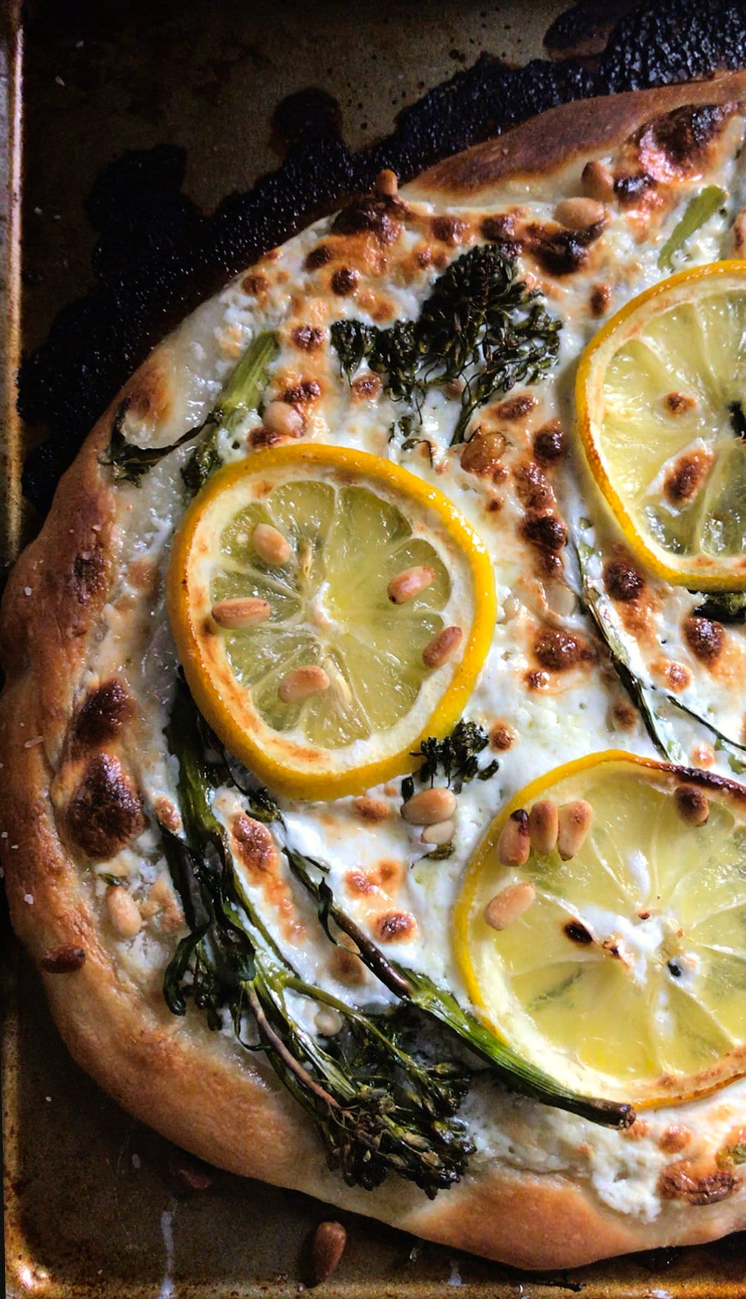 Charred Broccolini and Lemon Pizza