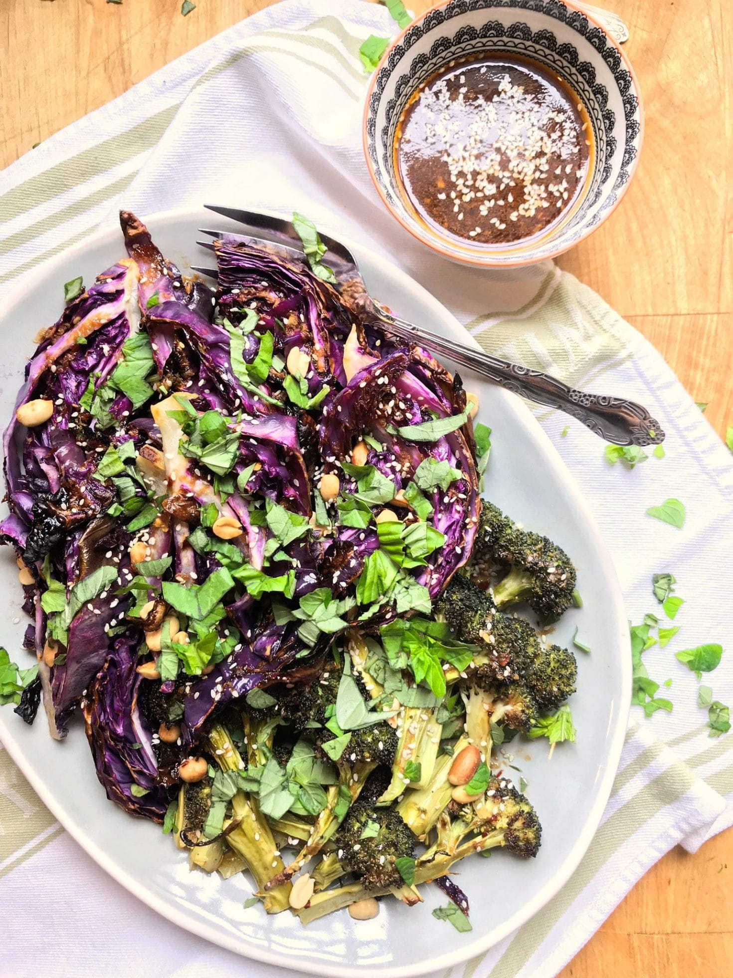 Charred Broccoli and Cabbage with Sesame Vinaigrette