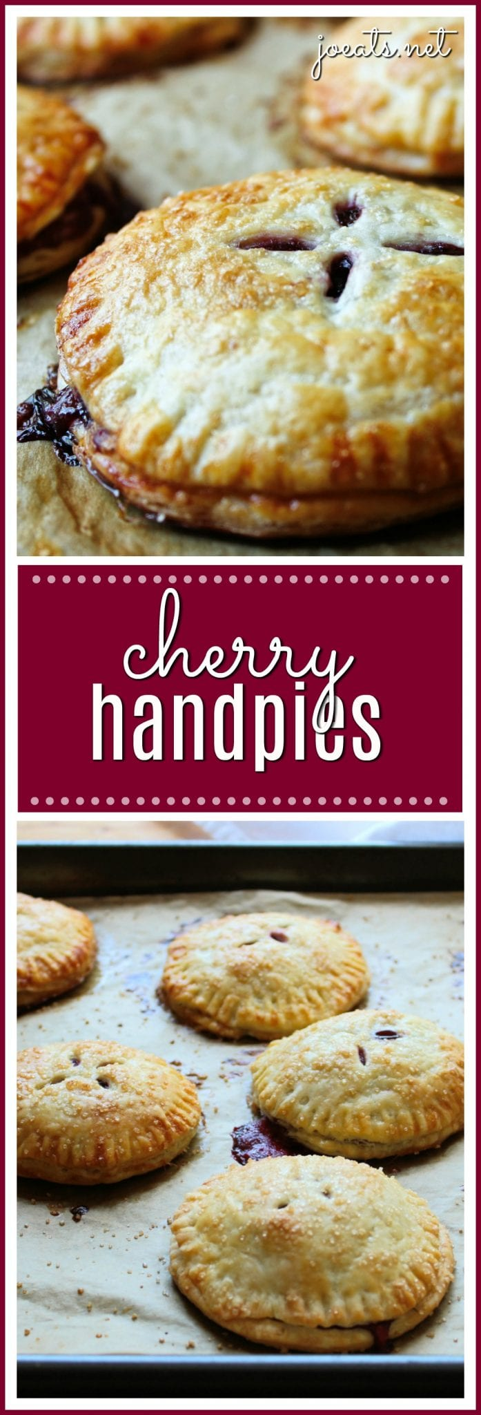 The little beauties have sweet, juicy cherries wrapped up in buttery, flaky pie dough. They're the perfect handheld treat. #pie #handpie #cherryhandpie #minidessert #dessert #baking #pies #cherry #adorablefood #joeats