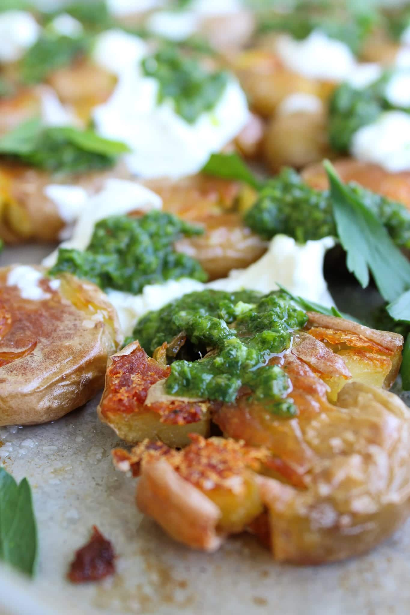 Crispy Potatoes with Burrata and Salsa Verde