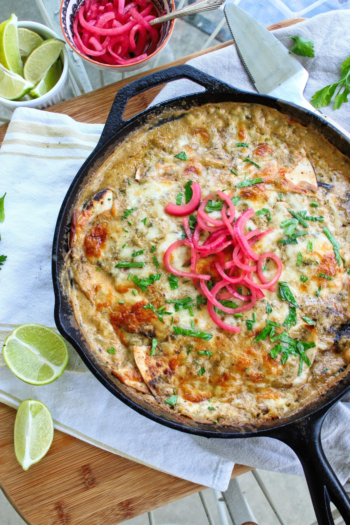 One Pot Chicken Skillet Enchiladas