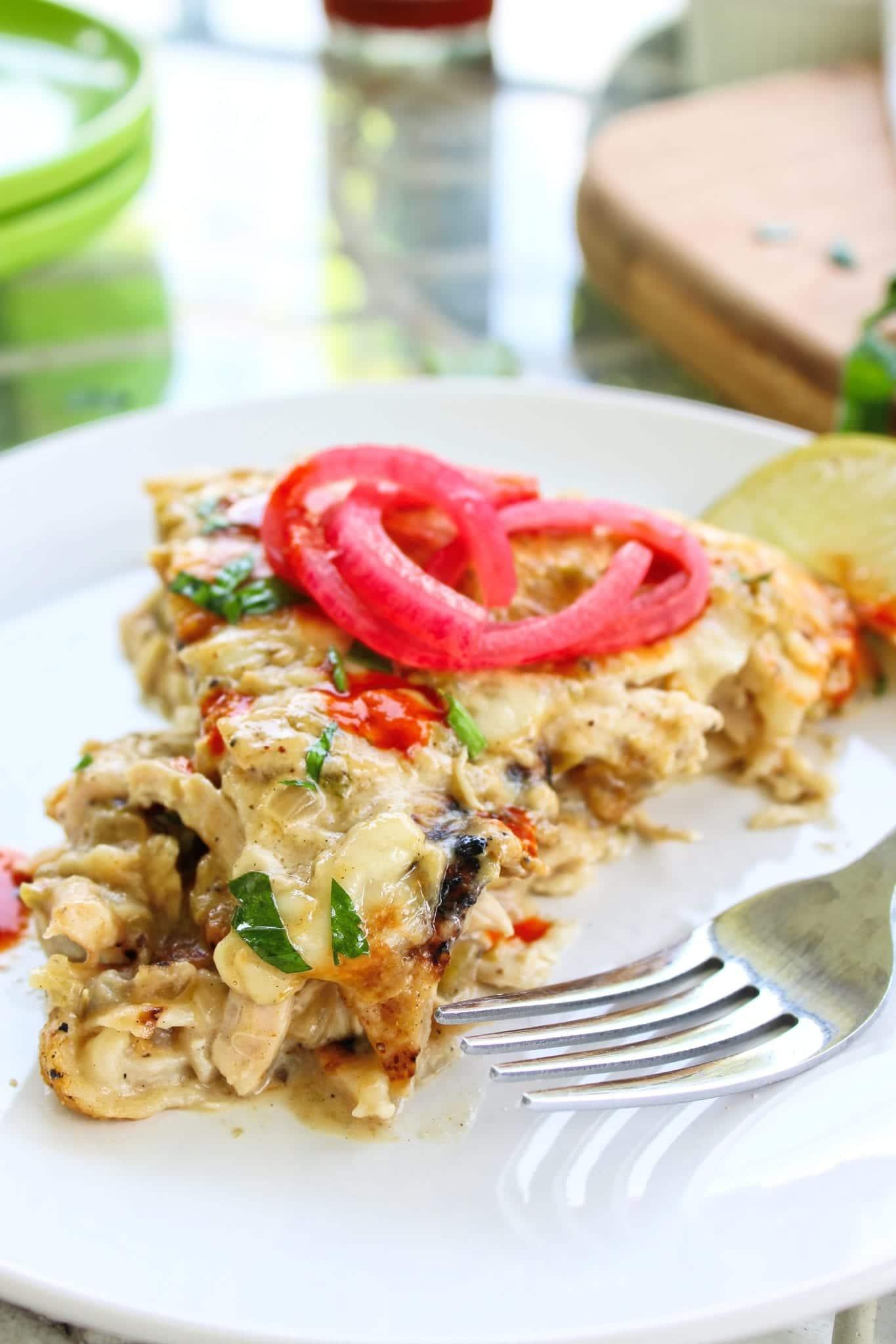 One Pot Chicken Skillet Enchiladas