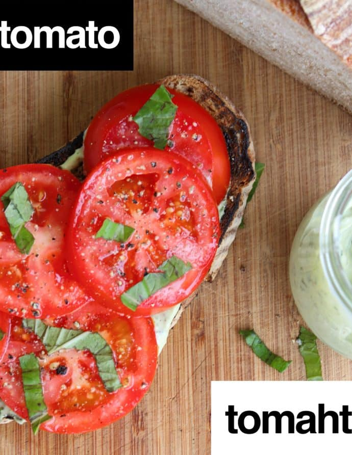 Open Faced Tomato Sandwiches with Basil Mayo