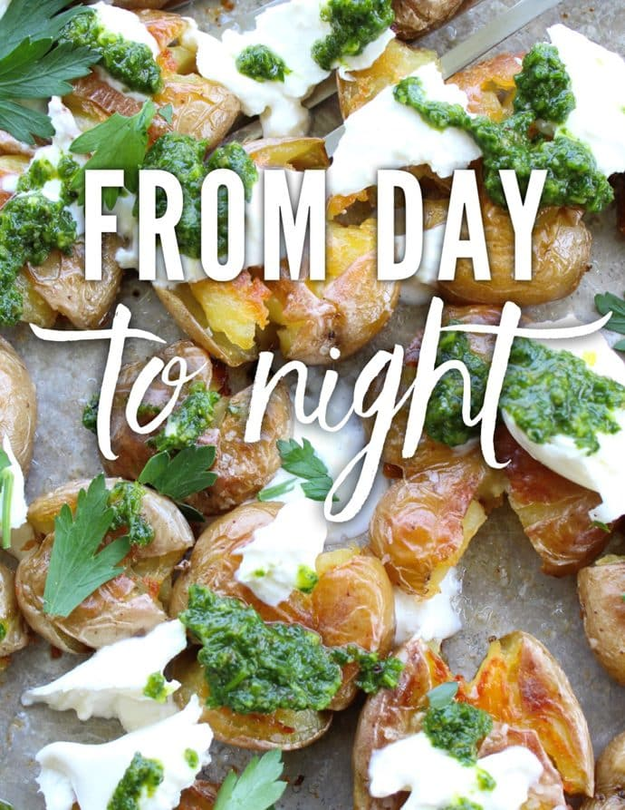 Crispy Smashed Potatoes with Burrata and Salsa Verde