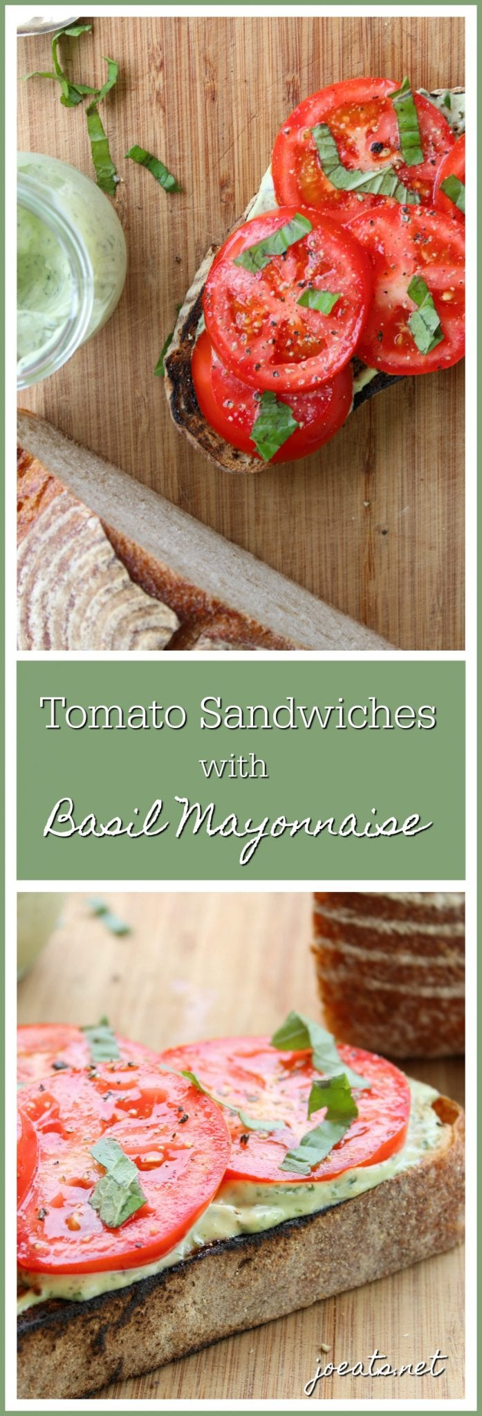 Excellent summer tomatoes don't need much. Slather some zippy basil mayo on toasty bread, pile on juicy tomatoes, and experience some summer magic. #tomato #sandwich #summer #joeats #easy #nocook #vegetarian #tomatosandwich