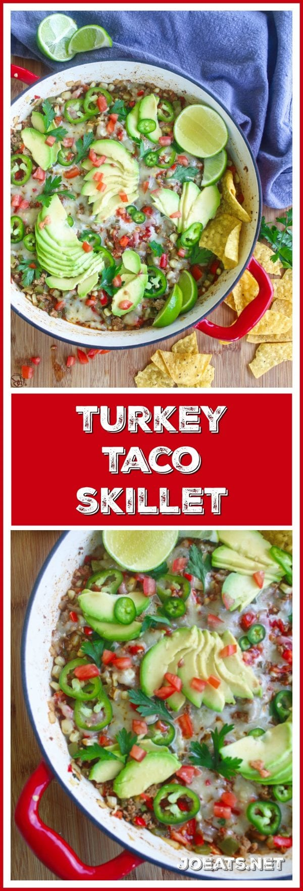 This turkey taco skillet is an easy, weeknight, one pot meal that will definitely make its way into your dinner time rotation! #skillet #weeknightmeal #dinnerrecipe #mexicanfood #funfood #easymeal #easydinner #onepotmeal