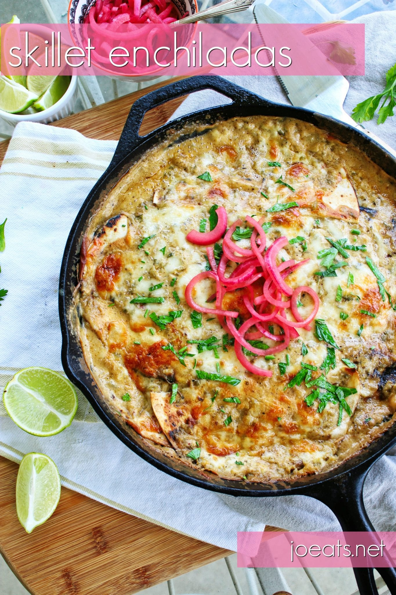 Creamy, cheesy, a little spicy, and totally delicious, these one pan skillet enchiladas are a mid-week make-ahead miracle. #weeknightmeal #mealprep #makeahead #enchiladas #skilletenchiladas #chickendinner #mexicanfood #chickenenchiladas #onepot #onepotmeal #onepotrecipe #enchiladarecipe #skilletenchiladarecipe #chickenenchiladarecipe