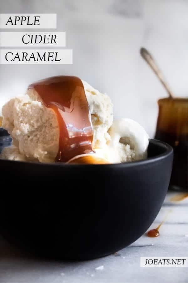 Apple Cider Caramel on ice cream in a dark bowl