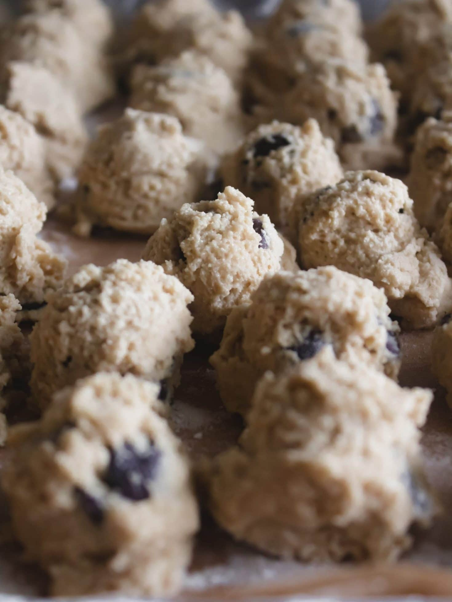 tahini chocolate chip cookie dough balls