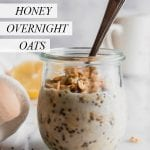 Lemon honey overnight oats in a jar