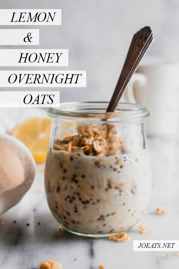 Lemon and honey overnight oats are a healthy, easy way to have breakfast waiting for YOU! Get this gluten free, dairy free recipe at joeats.net! #glutenfree #dairyfree #vegetarian #healthy #breakfast #joeats