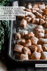 sweet potato gnocchi and kale on a sheet pan