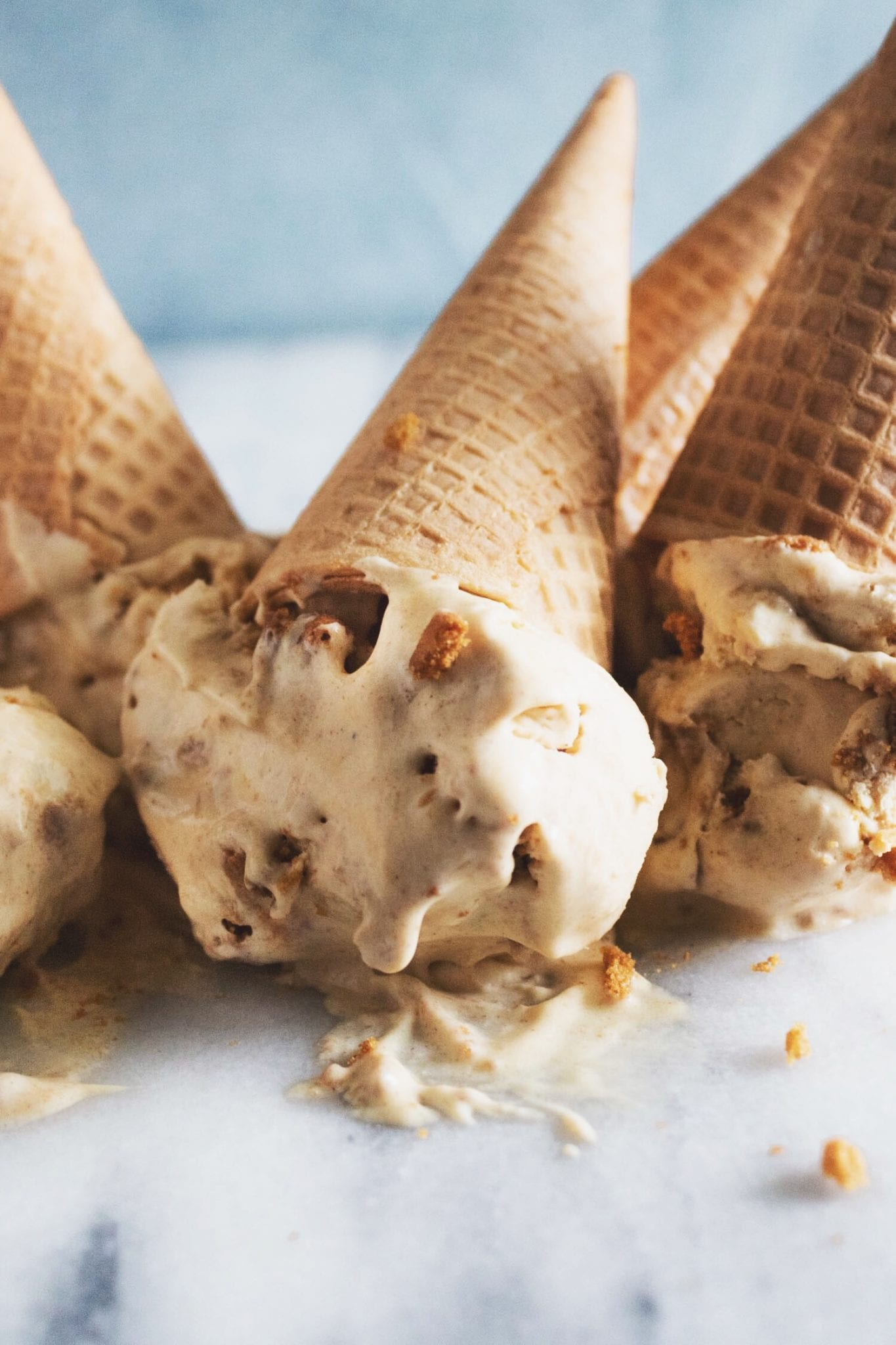 upside down cones of pumpkin gingersnap ice cream