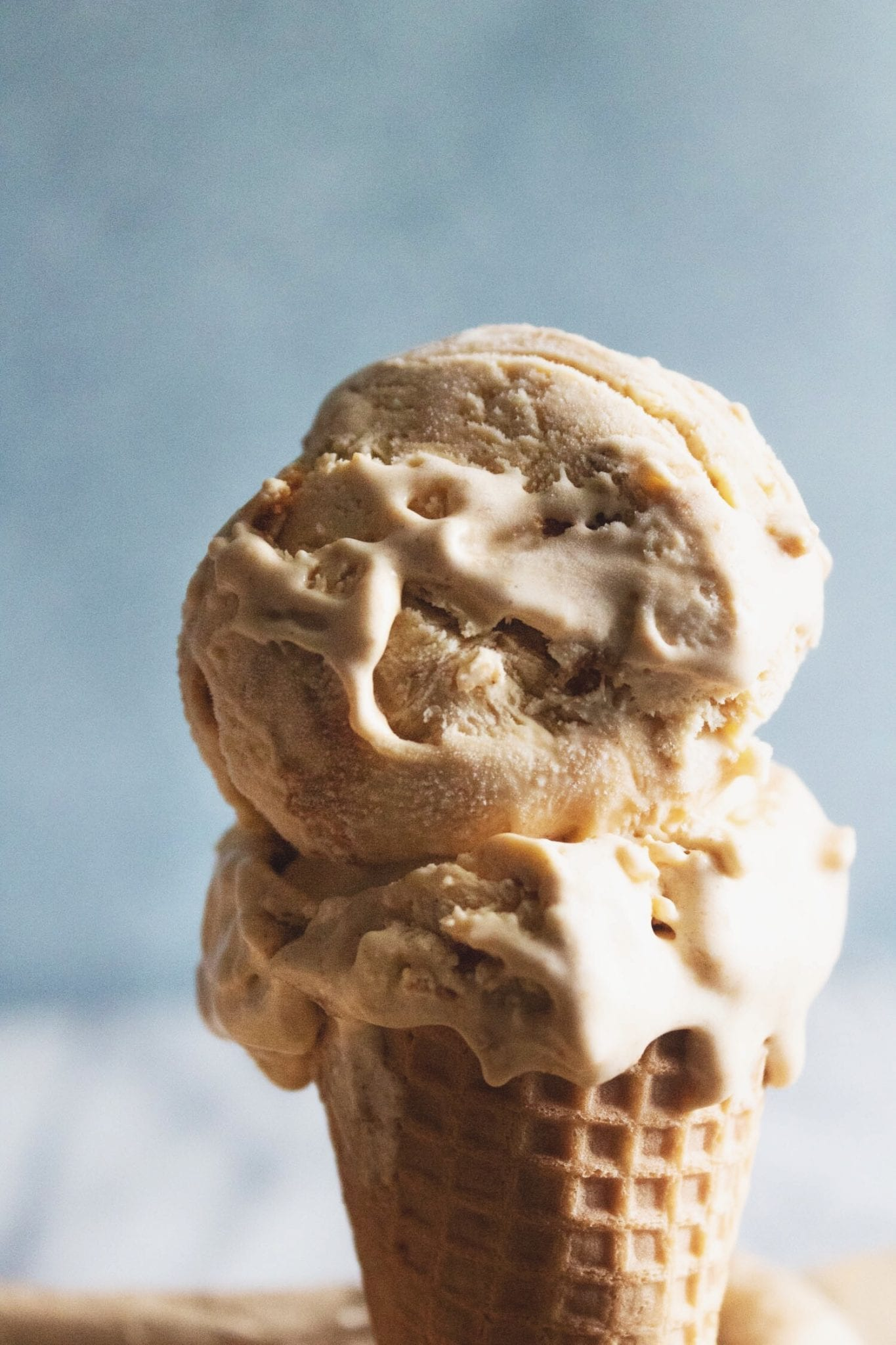 double scoop in a cone of no churn pumpkin ice cream