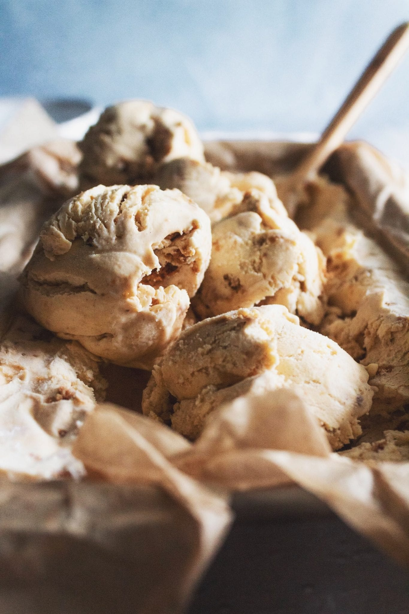 scoops of pumpkin gingersnap ice cream