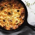 overhead of fall vegetable frittata in a cast iron skillet