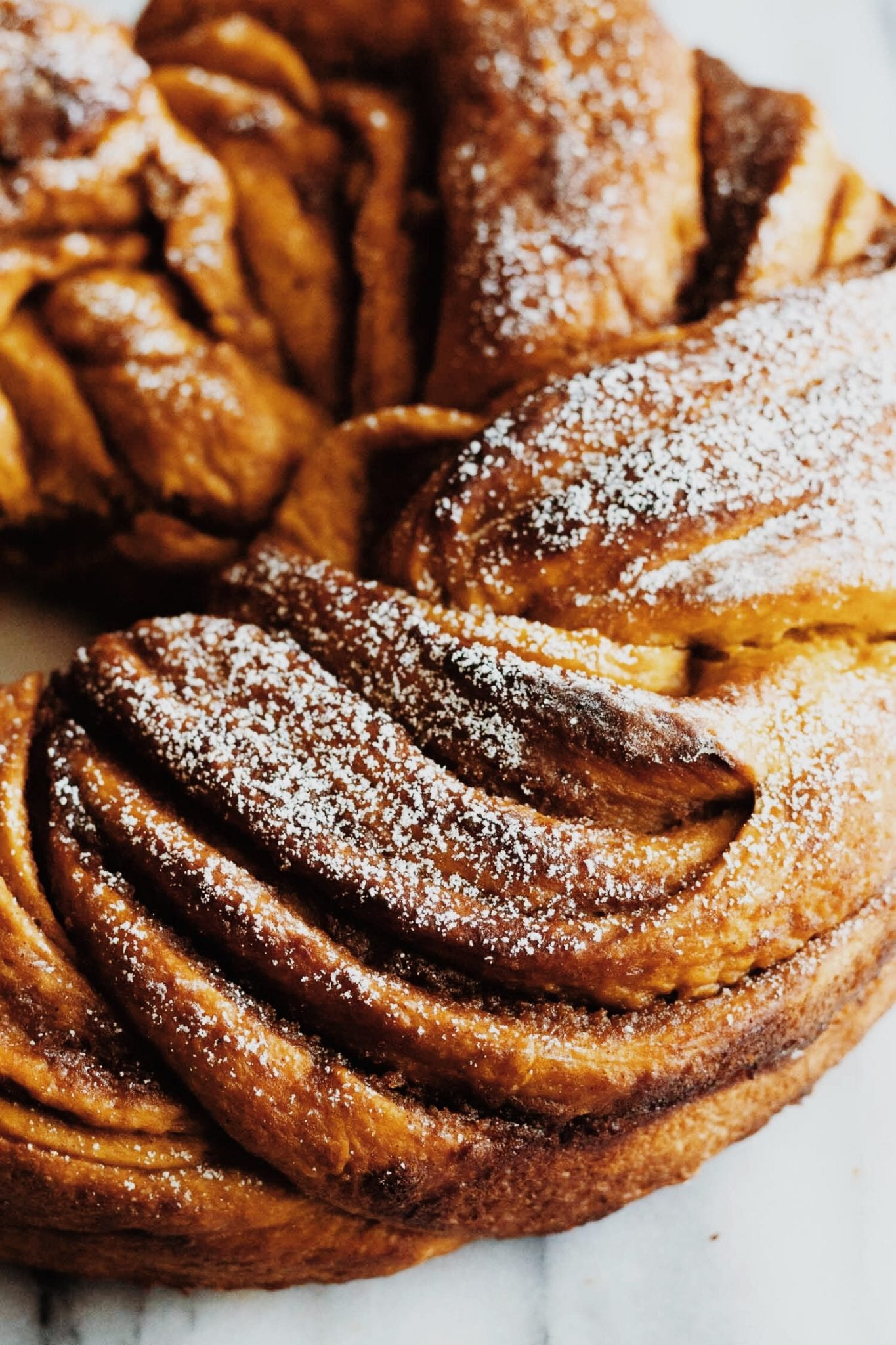 close up of pumpkin brown sugar babka