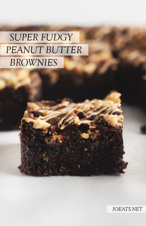 close up of a peanut butter brownie and text overlay