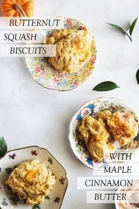 three plates with butternut squash biscuits