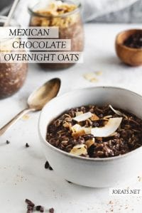 mexican chocolate overnight oats in a bowl with spoon and text overlay