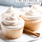 vanilla buttermilk cupcake on a small plate with a bite taken out with text overlay