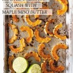 sheet pan with delicata squash, limes, and text overlay