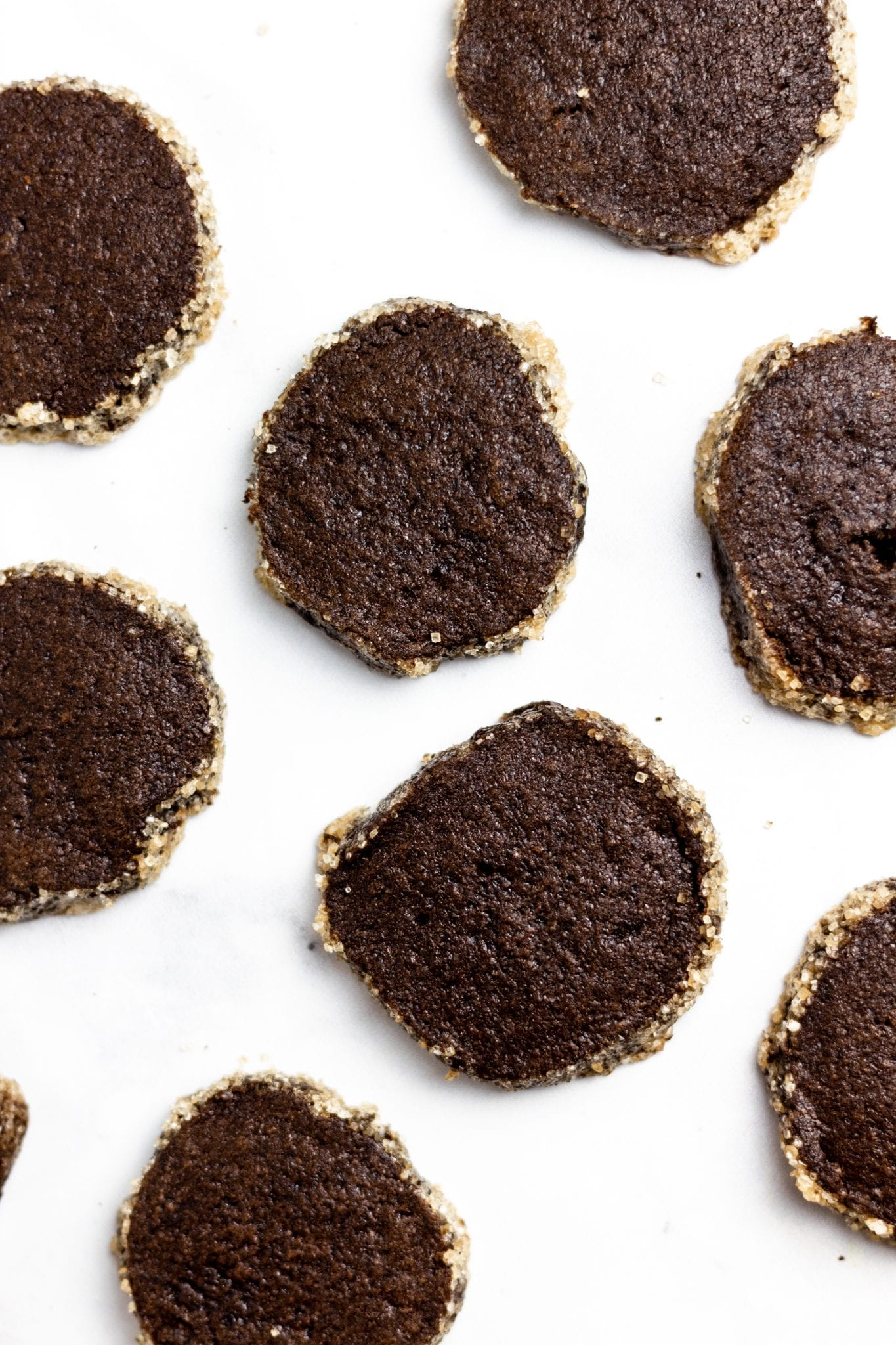 over head shot of slice and bake chocolate shortbread on white background