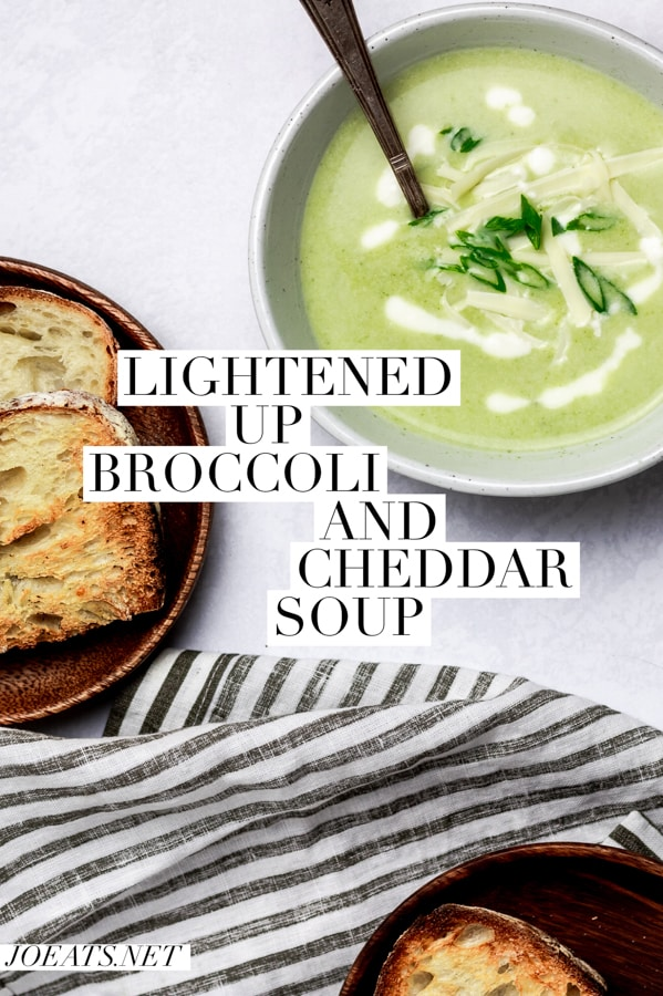 This light, healthy, and cheesy broccoli soup is ready in a tight 25 and is a great weeknight meal to have in your back pocket. #joeats #weeknightmeal #soup #vegetarian #easymeal