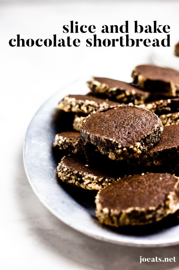 These slice and bake chocolate shortbread cookies are a cinch to make and even easier to eat! Get this excellent holiday cookie recipe at joeats.net! #chocolate #cookies #shortbread #easy #christmascookies #holidaycookies #sliceandbake