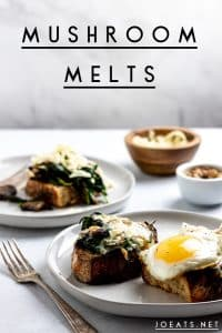 "mushroom melts with sunny side up egg on grey plates with text overlay that reads ""mushroom melts"""