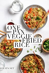 "three bowls of fried rice with text overlay that reads ""one pan veggie fried rice"""