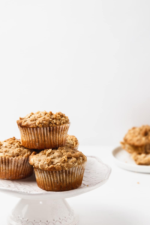 brown sugar oatmeal muffins on a mini cake stand