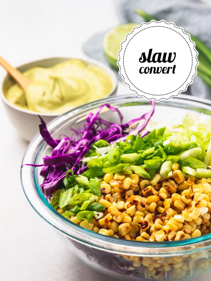 Charred Corn Slaw with Creamy Avocado Dressing