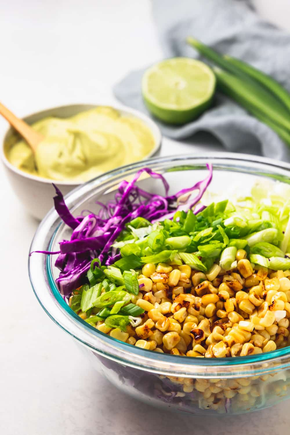 Ingredients for charred corn slaw with avocado dressing