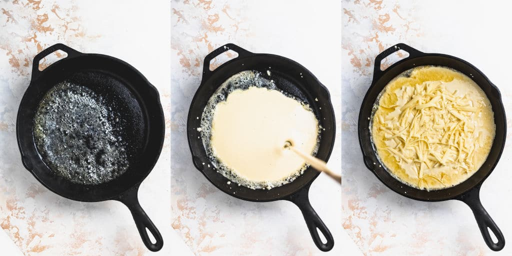collage of three cast iron skillets. One with melted butter, one with batter being poured in, one with grated cheese sprinkled over batter