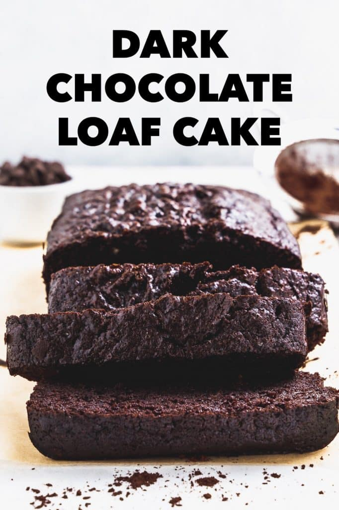 dark chocolate loaf cake close up with text overlay