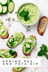 "spring pea and feta dip on crostini with text overlay that reads ""spring pea and feta dip"""