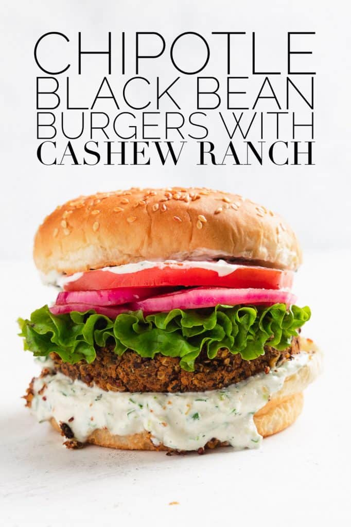 vegan black bean burger with cashew ranch, lettuce, tomato, and pickled red onion
