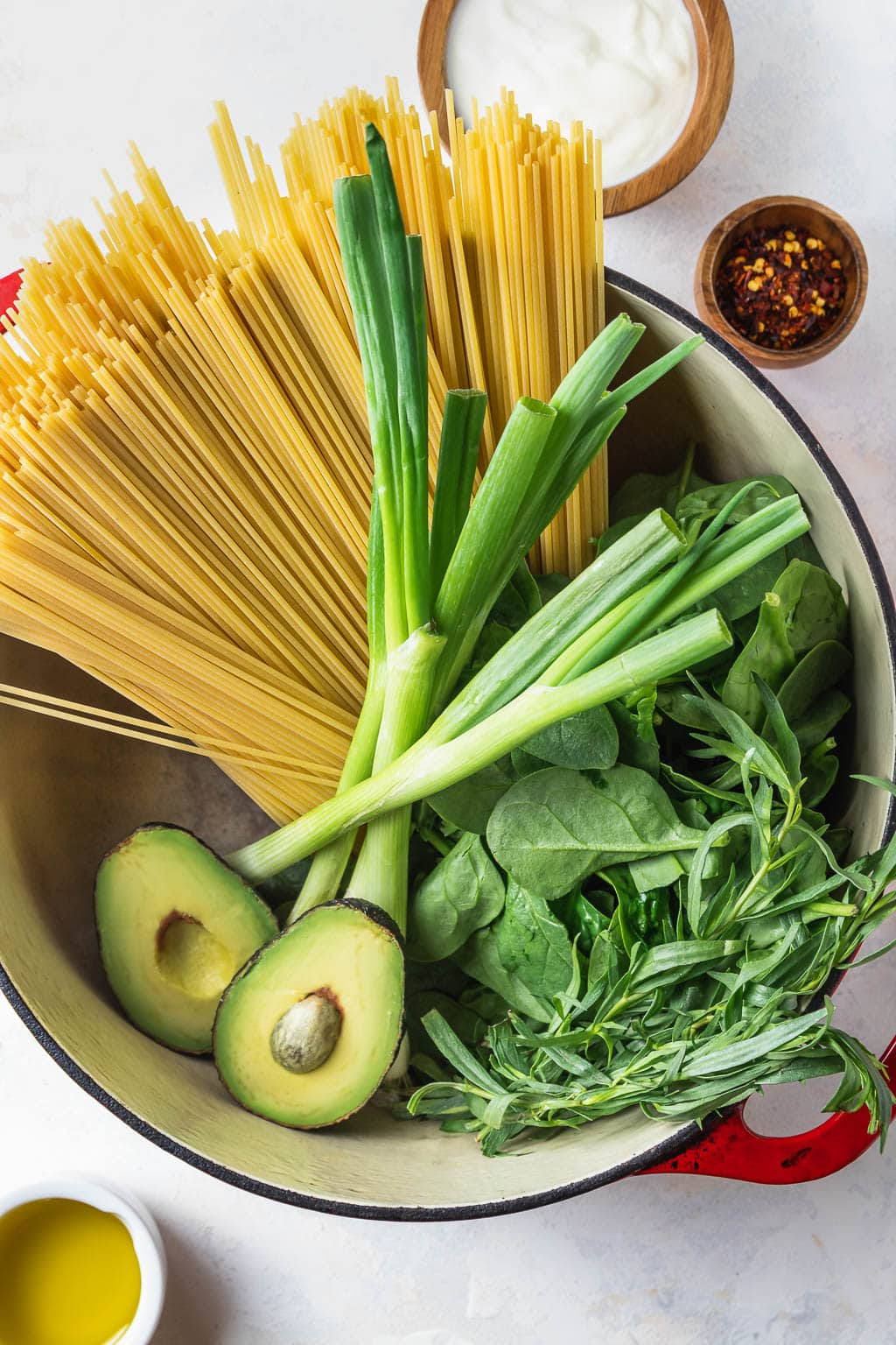 ingredients for avocado tarragon pesto pasta