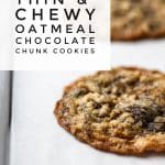 sheet pan with baked oatmeal chocolate chunk cookies