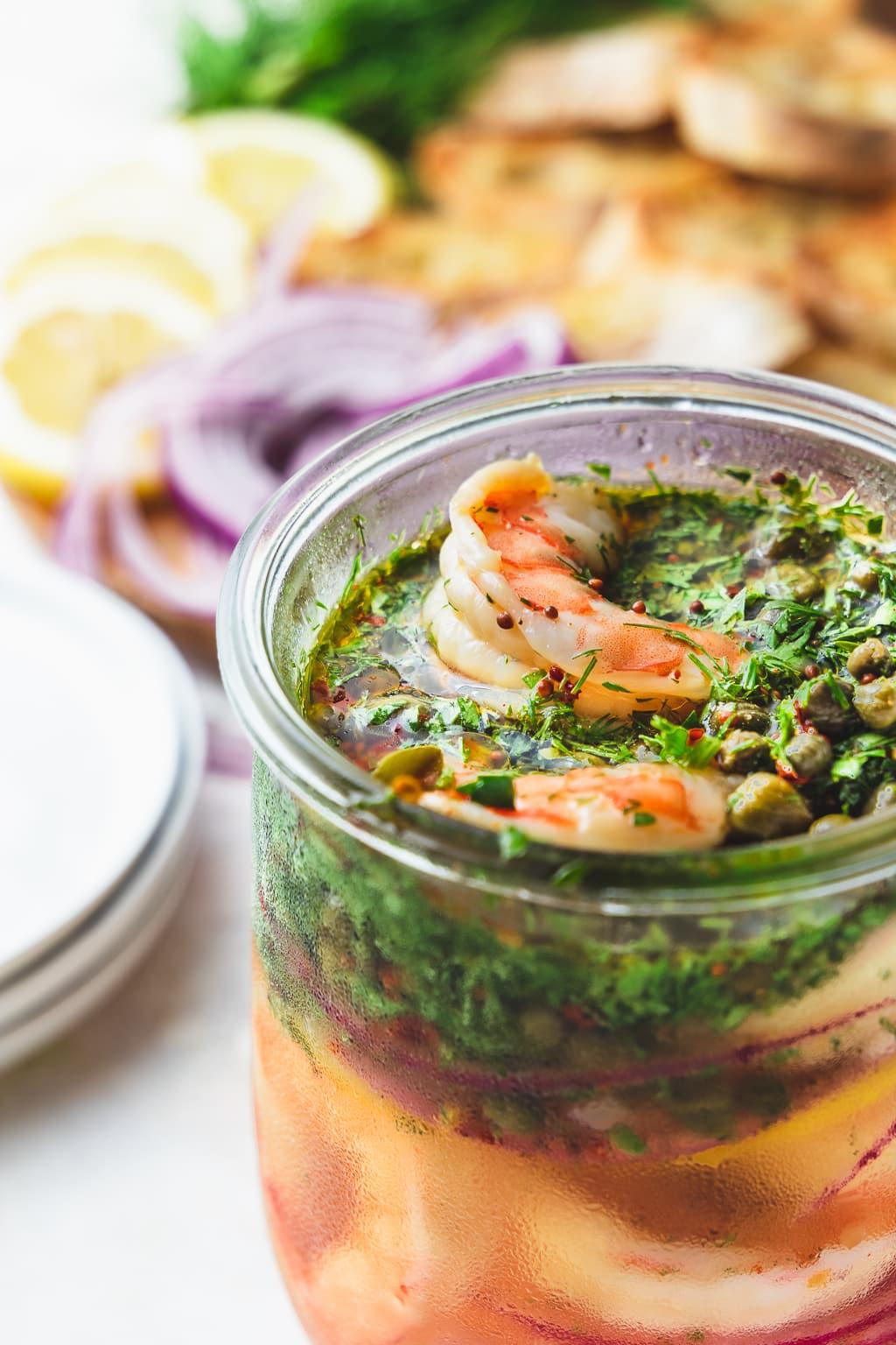 easy pickled shrimp in a jar