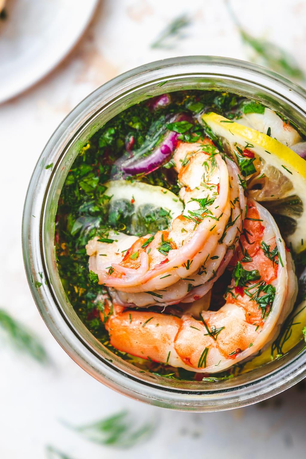 pickled shrimp in a jar