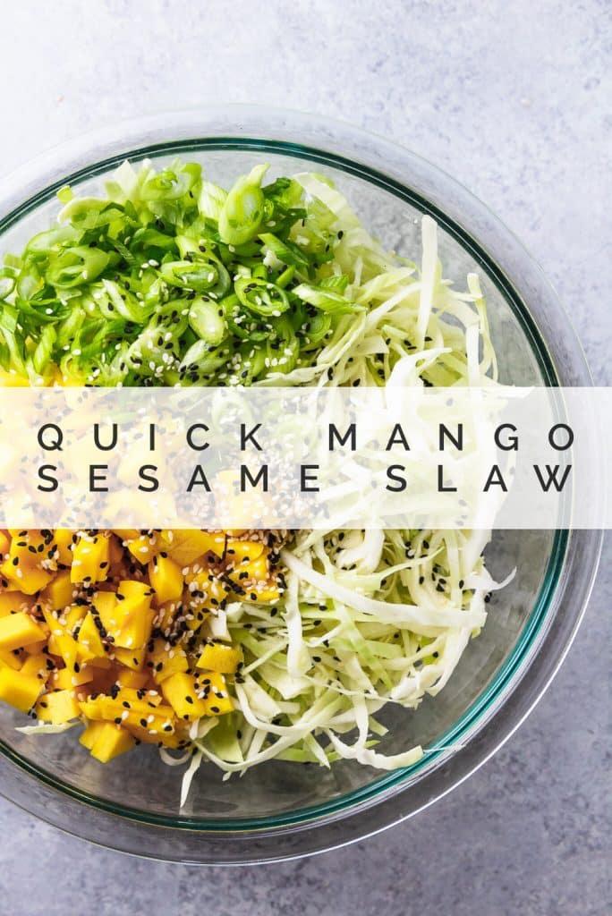 mango sesame slaw in a glass bowl