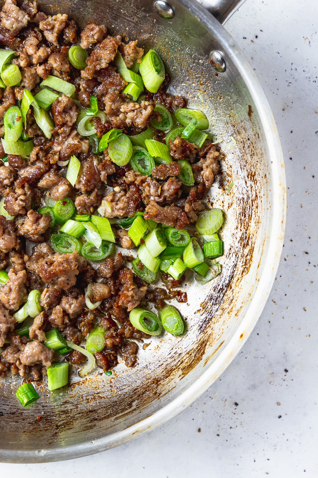sauteed sausage and scallions
