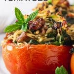 sausage and orzo stuffed tomatoes