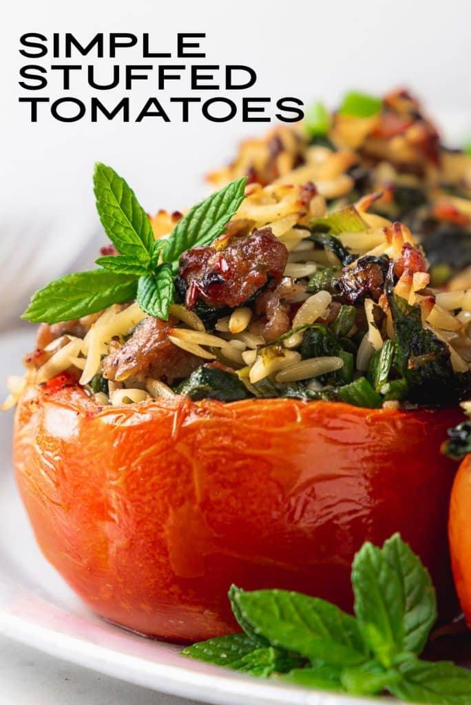 sausage and orzo stuffed tomatoes