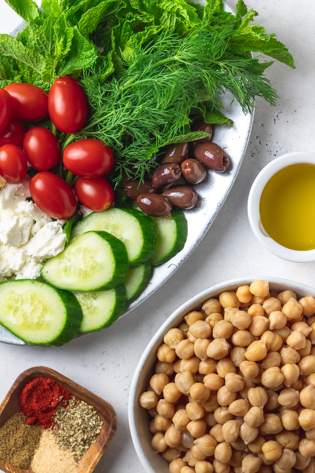 ingredients for spiced chickpea greek salad