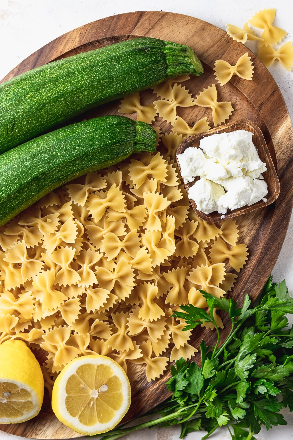 ingredients for zucchini goat cheese pasta
